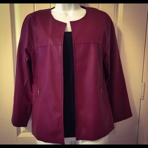 Chico's Faux Leather Jacket Burgundy Size 0 (4/6)
